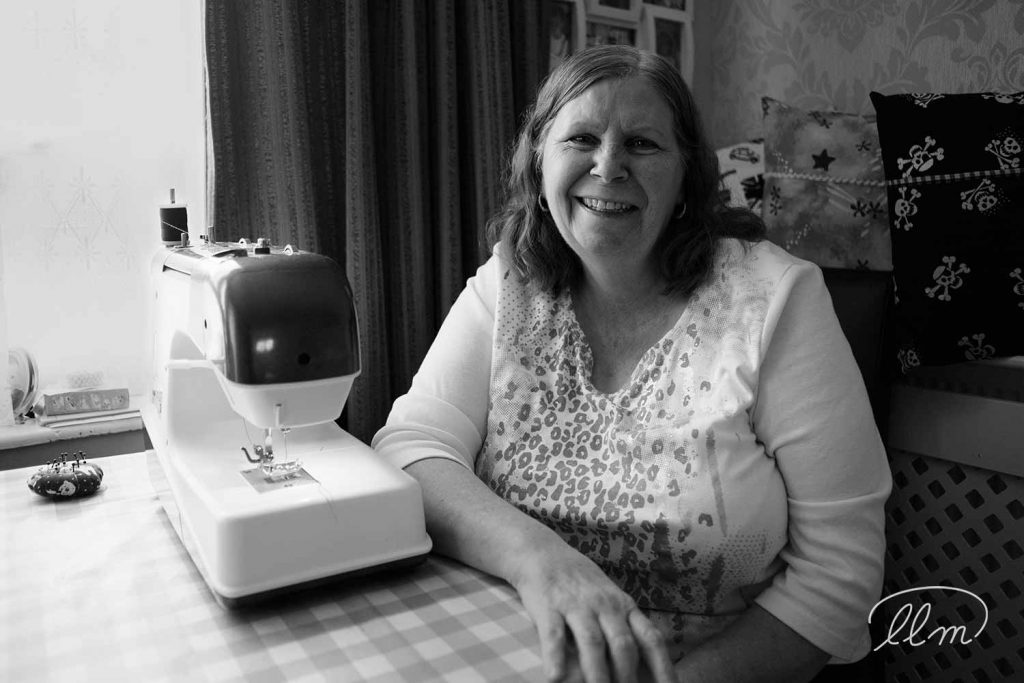 Carol Street, founder of Carol's Home Delights at her sewing machine