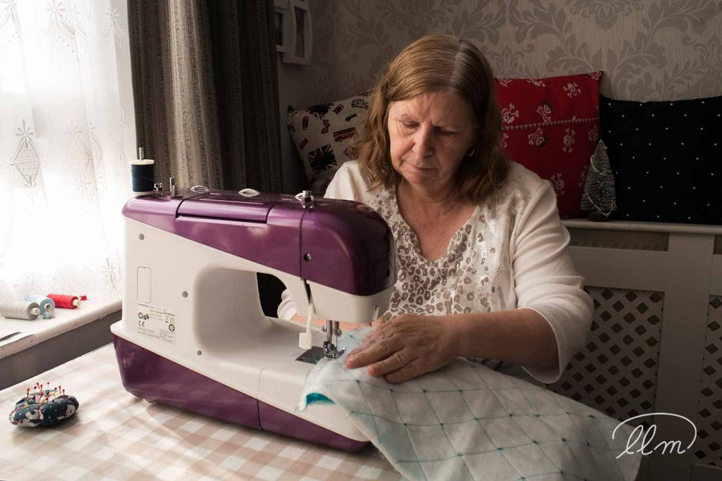 Carol Street of Carol's Home Delights at her sewing machine