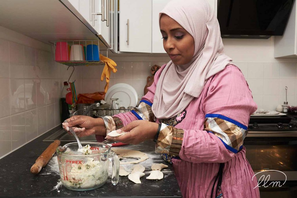 Aseel's Kitchen founder Sophia cooking